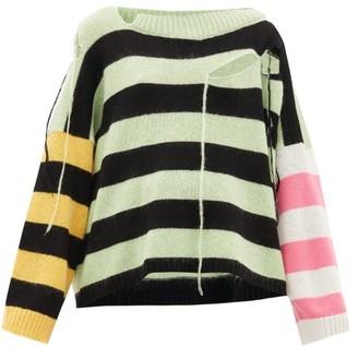 Charles Jeffrey Loverboy Distressed Striped Merino Wool-blend Sweater - Womens - Multi