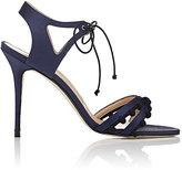 Manolo Blahnik Women's Esparra Satin Ankle-Tie Sandals