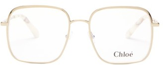 Chloé Bonnie Oversized Square Glasses - Womens - Gold
