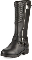 MICHAEL Michael Kors Dahlia Faux-Leather Moto Boot, Black, Youth