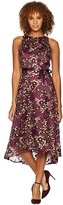 Tahari ASL Embroidered Mesh Midi Dress (Aubergine/Gold) Women's Dress