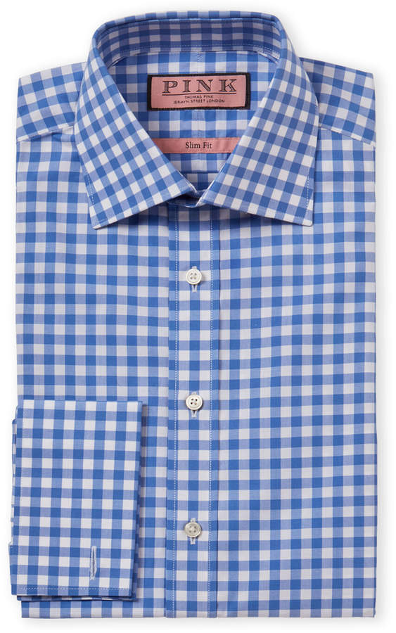 Thomas Pink Slim Fit French Cuff Check Dress Shirt