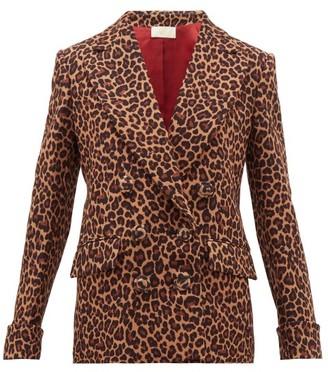 Sara Battaglia Leopard-print Double-breasted Jacket - Leopard