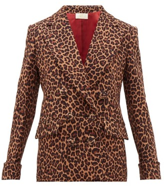 Sara Battaglia Leopard-print Double-breasted Jacket - Womens - Leopard