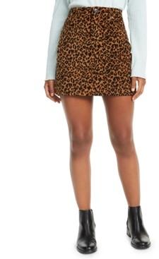 Vanilla Star Juniors' Leopard-Print Corduroy Skirt