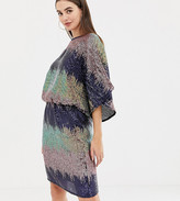Flounce London Tall sequin batwing mini dress in ombre sequin