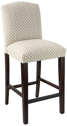 One Kings Lane Marie Barstool - Flax Dot - frame, espresso; upholstery, flax/white