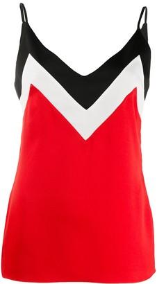Mulberry V-neck block color slip vest