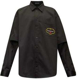 Balenciaga Logo-embroidered Cotton-blend Shirt - Mens - Black