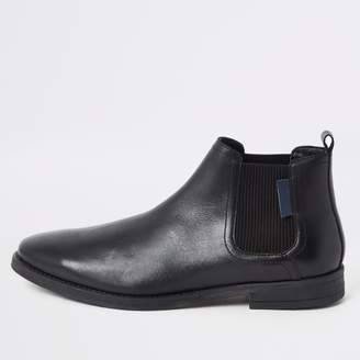 River Island Mens Black leather pointed toe Chelsea boots