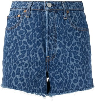 Levi's Frayed Leopard Denim Shorts
