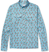 Prada Slim-Fit Button-Down Collar Printed Cotton-Poplin Shirt