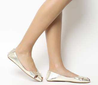 Office Face To Face Peep Toe Flats Gold Leather