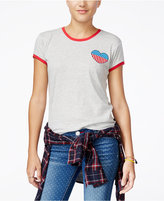 Mighty Fine Juniors' Heart Patch Graphic Ringer Tee