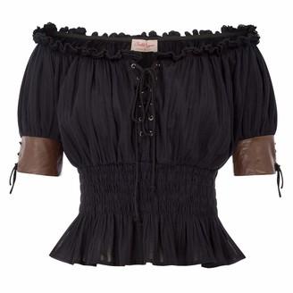 Belle Poque Women Vintage Victorian Half Sleeve Off Shoulder Shirt Tops Black