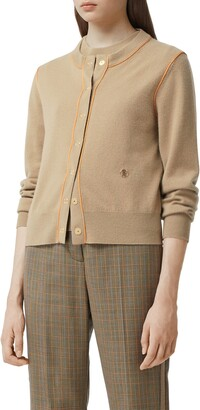 Burberry Janice TB Monogram Piped Cashmere Cardigan