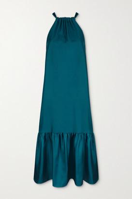 ASCENO Ibiza Tiered Silk-satin Halterneck Maxi Dress - Navy