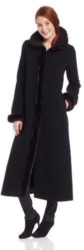 Ellen Tracy Outerwear Women's Long Maxi Coat with Faux Fur Trim