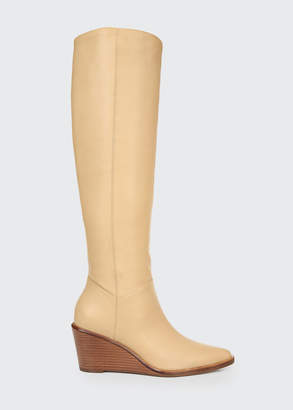 Vince Marlow Heavy Leather Wedge Knee Boots