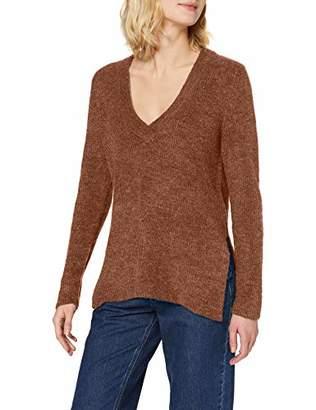 Vila CLOTHES Women's Viesha Knit New V-Neck L/s Top Jumper,Medium