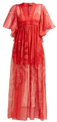 Three Graces London X Zandra Rhodes Gabrielle Silk Maxi Dress - Red Multi