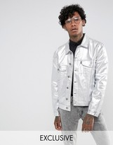 Jaded London Denim Jacket With Metallic Silver Coating