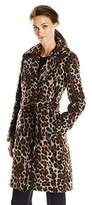 Ellen Tracy Outerwear Women's Leopard Wool Wrap Coat