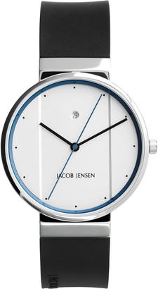 Jacob Jensen Unisex Analogue Classic Quartz Watch with Rubber Strap JJ750