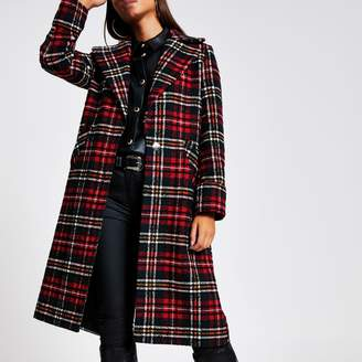 River Island Womens Red tartan check longline coat
