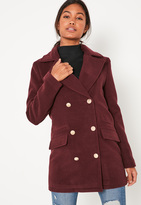 Missguided Burgundy Short Faux Wool Military Coat
