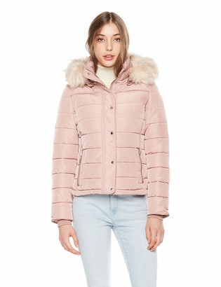 Royal Matrix Women's Short Coat Heavy Quilted Puffer Soft Fabric Outerwear with Removable Faux Fur (Kaki 2)