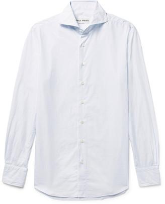 Salle Privée White Evron Slim-Fit Cutaway-Collar Pinstripe Cotton-Poplin Shirt