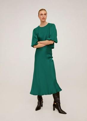 MANGO Puff sleeve top green - 4 - Women