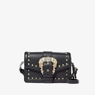 Versace Eco Leather Gold Studded Satchel (Black) Handbags