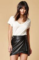 Evil Twin Distance Faux Leather Wrap Mini Skirt
