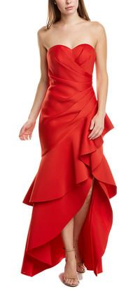 Badgley Mischka Asymmetrical Ruffle Gown
