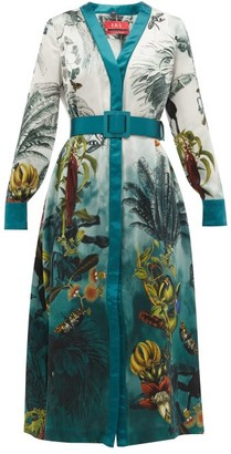 F.R.S For Restless Sleepers Clizio Bird-print Belted Silk Dress - Blue Multi