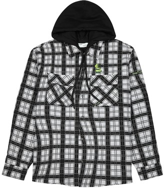 Off-White Checked hooded cotton-blend jacket