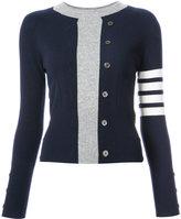 Thom Browne Trompe L'oeil Intarsia Crew Neck Raglan Sleeve Pullover In Navy Cashmere