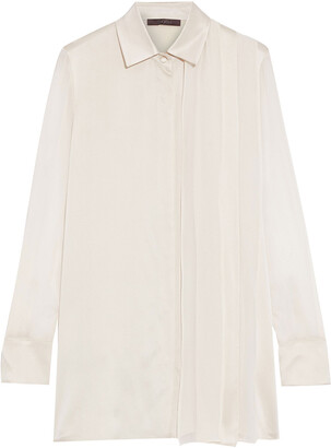 Max Mara Marsala Layered Chiffon-paneled Silk-satin Shirt