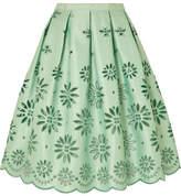 J.Crew Embroidered Duchesse-satin Midi Skirt - Mint