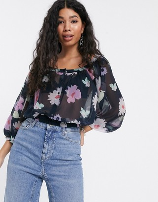 Pepe Jeans Valentine floral print blouse-Navy