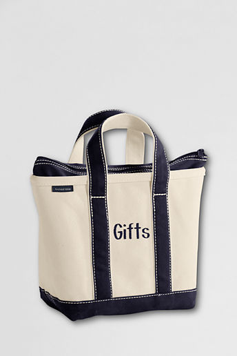 Lands' End Small Natural Zip Top Canvas Tote Bag