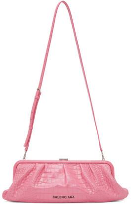 Balenciaga Pink Croc XL Cloud Clutch