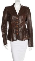 Elie Tahari Leather Button-Up Blazer