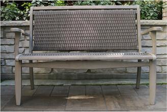 Outdoor Interiors Grey Wash Eucalyptus & Driftwood Grey Wicker Bench