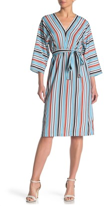 French Connection 3/4 Sleeve Multicolored Stripe Dress