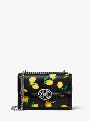 Michael Kors Monogramme Lemon Print Leather Chain Shoulder Bag