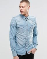 Nudie Jeans Jonis Bronson Western Denim Shirt in Light Blue Wash