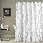 Lush Decor Triangle Home Fashions 19211 Ruffle Shower Curtain, White